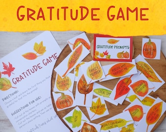 Gratitude Game, Prompts and Conversation Starters Great for Family Dinner Conversation - Instant Download