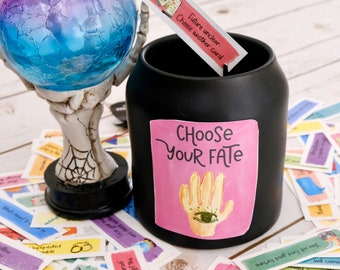 Make Your Own Fortune Telling Jar of Fortune Cards & Positive Messages - Party Game -Printable Instant Download - Halloween Activity