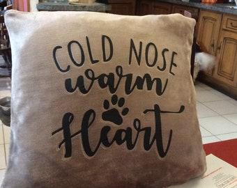 Cold nose warm heart cushion cover