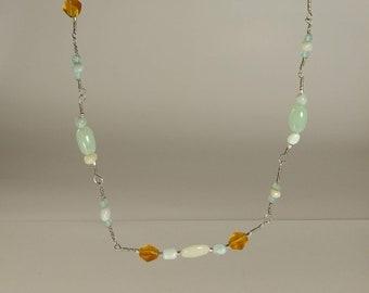 Yellow Quartz and Aquamarine necklace