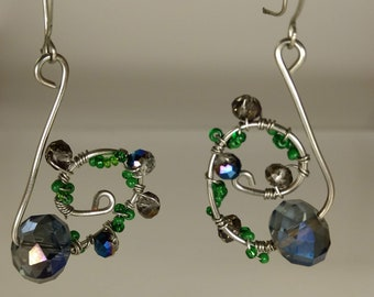 Green and purple wire earrings
