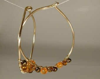 Orange and bronze glass gold wire wrapped Hoop Earrings
