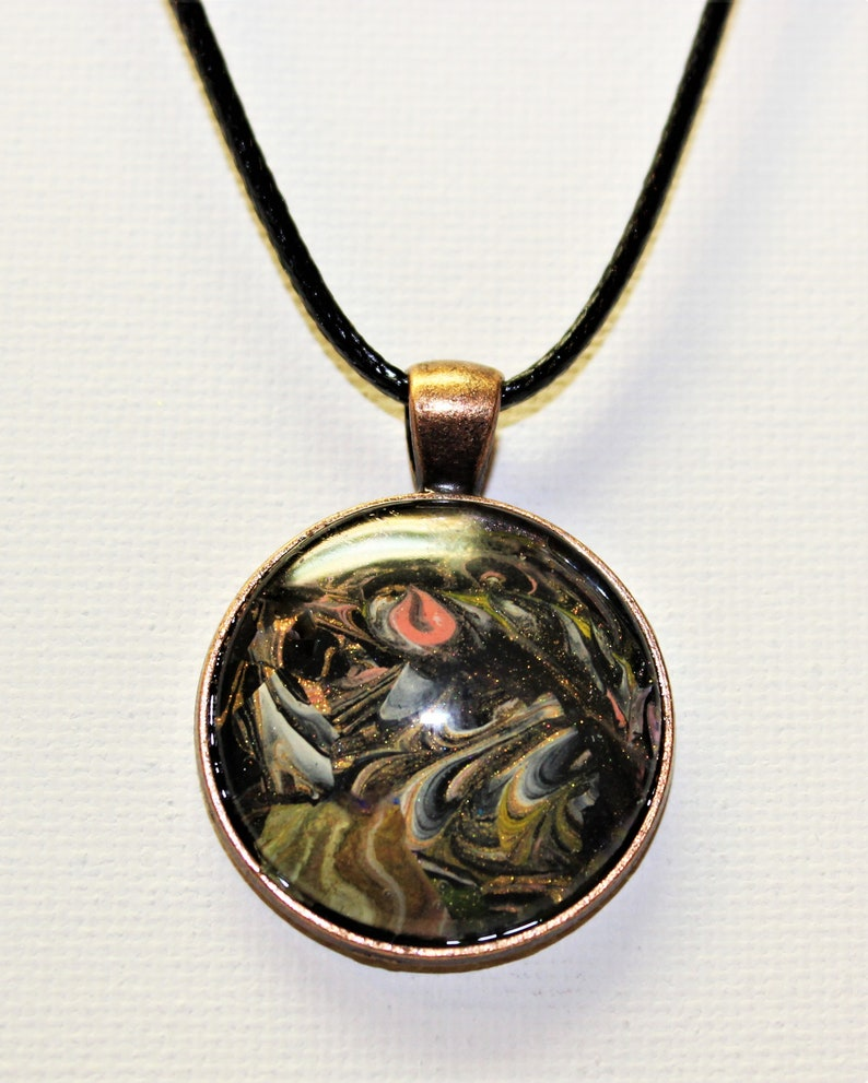 Hand painted  abstract necklace