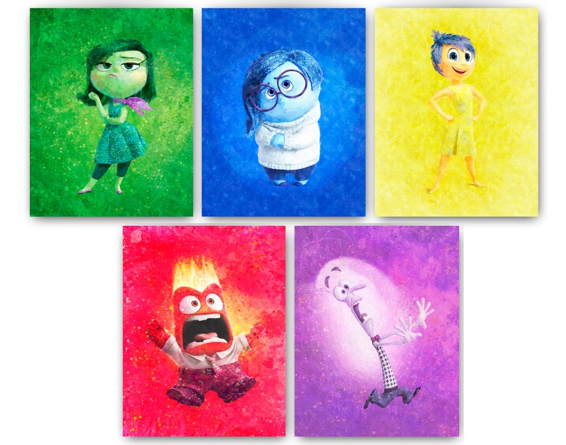 8785e0b8b13 Inside Out Watercolor Print Sadness Disgust Fear Joy Anger