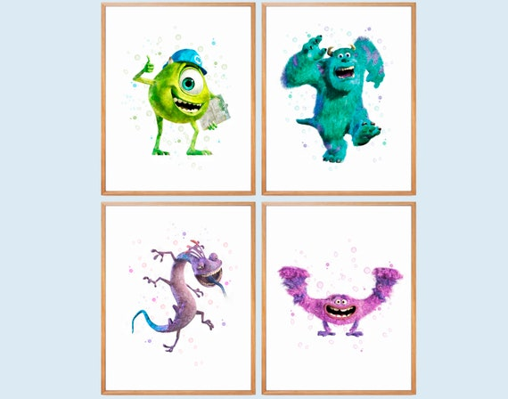 Monsters Inc Room Decor.Monsters Inc Print Monsters University Art Monsters Watercolor Mike Wazowsky Sulley Randall Monsters Wall Decor Monsters Birthday Party Art