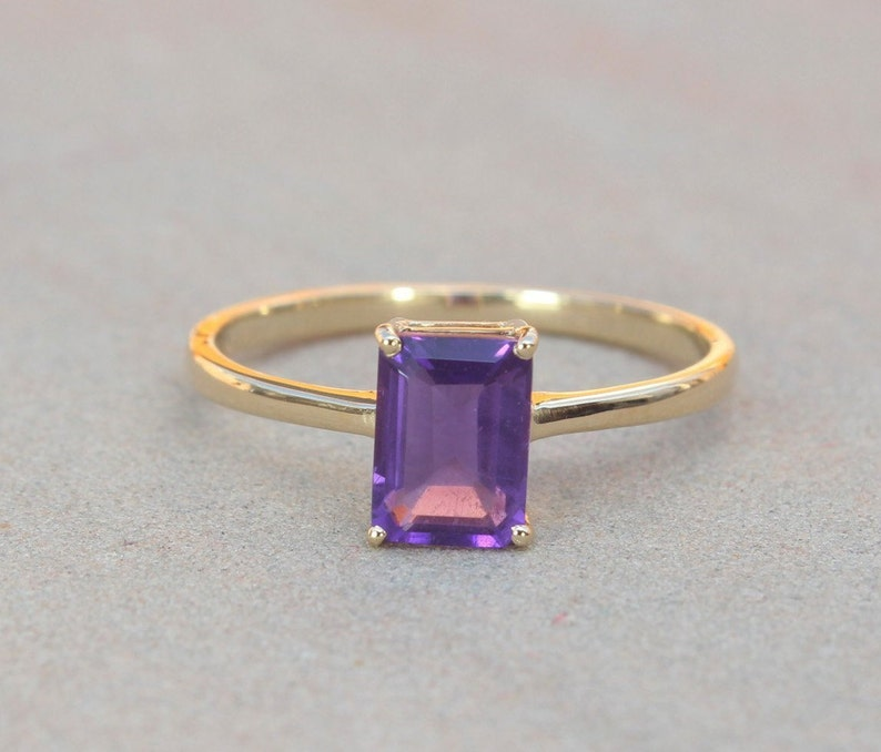 Engagement Ring Valentine Gift Natural Amethyst Simplistic Yellow Gold Ring