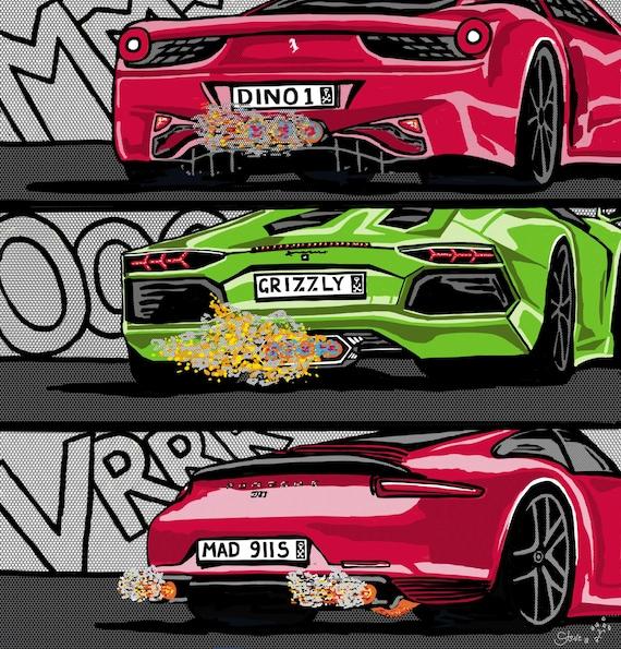 Vrrroom Ferrari Lamborghini Porsche Super Autos Brennen Etsy