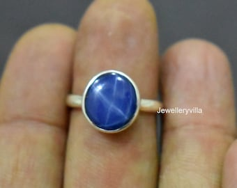 22K Yellow Gold Fill Ring Blue Star Ring Blue Sapphire Ring 925 Solid Sterling Silver Ring Rose Gold Round Sapphire Gemstone