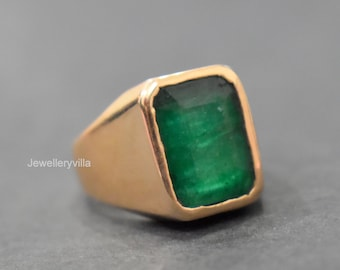 Oval Shape Stone Gift Ring Gemstone Ring 22k Gold fill Natural Emerald Ring 925 Solid Sterling Silver Ring Handmade Ring
