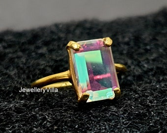 One of a Kind Rainbow Aura Quartz Brass Claw Ring