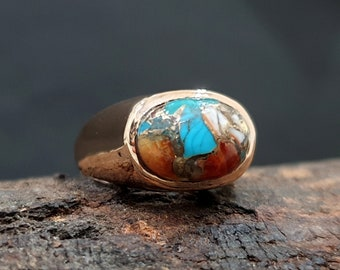 Turquoise Ring Mens, 925 Solid Sterling Silver Ring, Natural Blue Multi Color Copper Turquoise Gemstone, Rose Gold, 22K Yellow Gold Fill