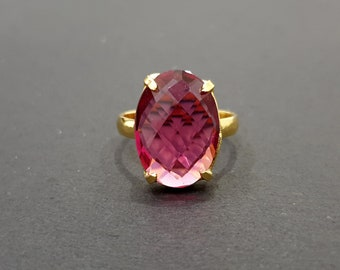 LG Faceted Red Tourmaline Ring 14k Yellow Gold Fill Wire Wrapped Ring Custom Sized