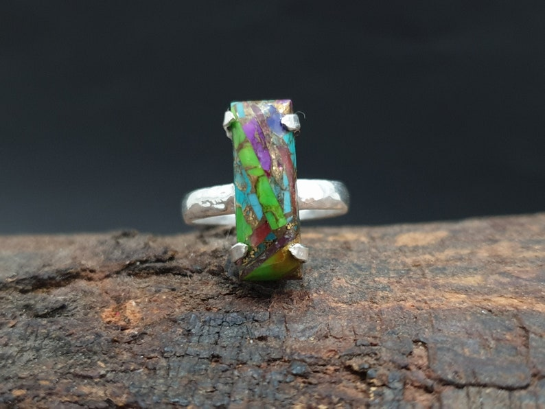 Turquoise Ring Multi Color 22K Yellow Gold Fill Natural Copper Turquoise Gemstone 925 Solid Sterling Silver Ring Rose Gold