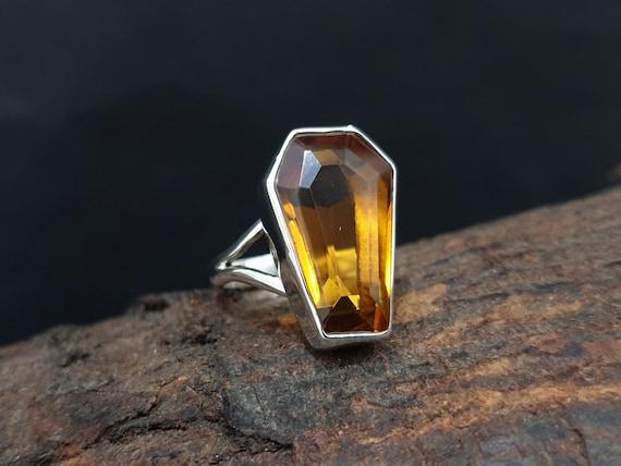 925 Solid Sterling Silver 22K Yellow Gold Fill Ring Coffin Ring Blue Topaz Ring Rose Gold Coffin Shape Blue Topaz Quartz Gemstone Ring
