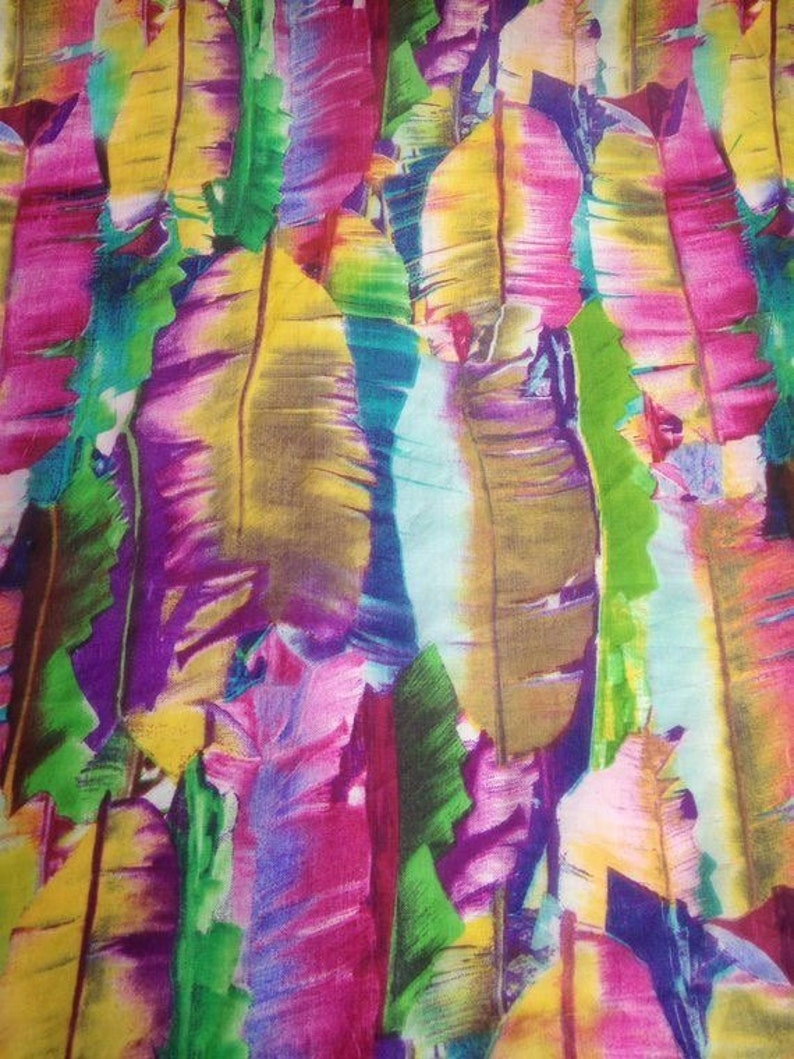 Multicolour Feather Print Chiffon Silk Fabric in Orange And Purple Colour
