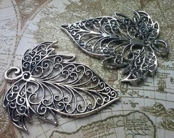 2 large Maple Leaf Pendants-Silver color-