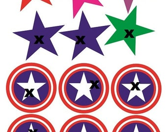 Captain America Cupcake Toppers TEMPLATE Marvel Avengers Template ASK For More Party Supplies Instant Chip Bag Caprisunjuice Label SVG