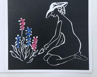 Greetings Card (Lino Garden)