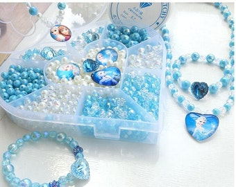 Hand-made beaded beads made girl bracelet necklace jewelry ice and snow