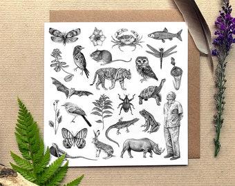 Sir David Attenborough & Animals Illustrated Greetings Card