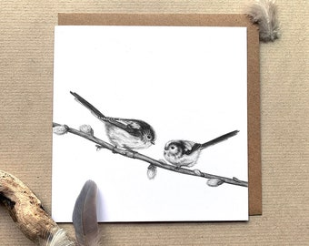 Long-Tailed Tits Illustrated Greetings Card