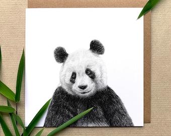 Giant Panda Illustrated Greetings Card