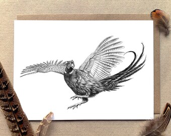 Jumping Pheasant Illustrated Plain Greetings Card