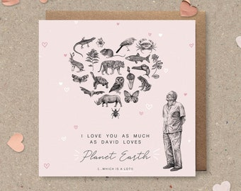 """Sir David Attenborough Illustrated Mother's Day / Birthday / Thank You / Valentine's Greetings Card - """"Attenborough Love"""" Pink"""