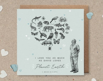 """Sir David Attenborough Illustrated Father's Day / Birthday / Valentine's Day Greetings Card - """"Attenborough Love"""" Blue"""