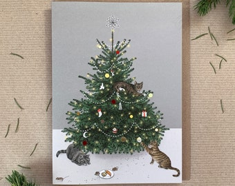 """Luxury Cats in Christmas Tree """"The Night Before Christmas"""" Illustrated Greetings Card - Premium Quality"""