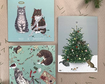 Luxury Christmas Cats Illustrated Greetings Card Bundle/Pack of 3/6/9/12/15 - Handmade in the UK (Cute Festive Animals) - Premium Quality