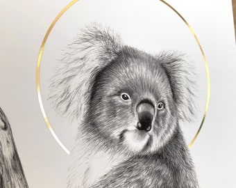 Luxury Koala Illustration Gold Halo Charity Print - 15x15 cm