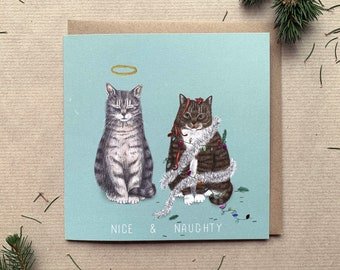 Luxury Sparkly Lights Illustrated Cats Christmas Greetings Card - Premium Quality