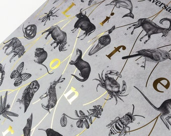 Limited Edition, Luxury A3 Gold Foil, Sir David Attenborough 'Life on Earth' 40th Anniversary Art Print/Poster