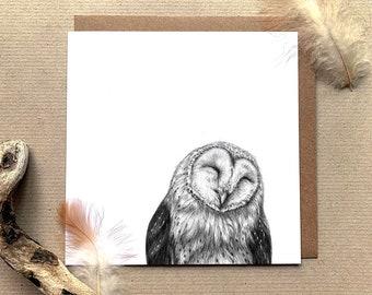 Happy Barn Owl Illustrated Greetings Card