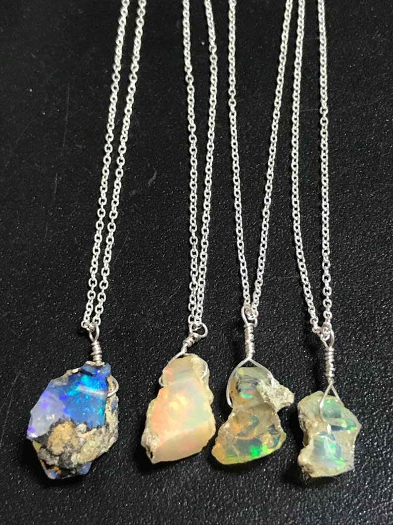 Real Ethiopian Opal Rough Pendant Necklace Natural Raw Fire Play Opal Birthday Gift for her 925 Silver Jeweller 12 To 17mm