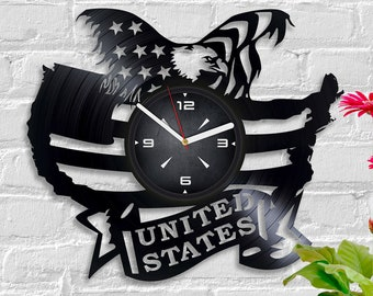 star spangled banner clock usa flag vintage vinyl record american eagle christmas gift new year gift retro wall clock stars and stripes art