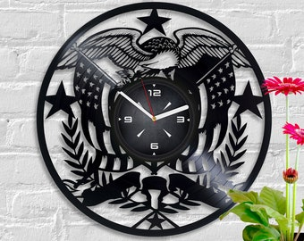 stars and stripes art american eagle christmas gift star spangled banner clock usa flag vintage vinyl record new year gift retro wall clock