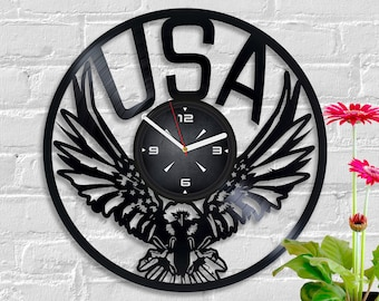 american eagle christmas gift new year gift retro wall clock stars and stripes art star spangled banner clock usa flag vintage vinyl record