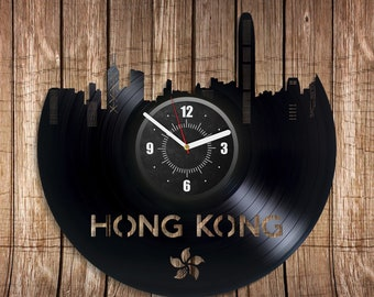 Hong Kong Room Wall Art Retro Lp Vinyl Record Clock Travel Xmas Gift For Her City New Year Idea Vintage