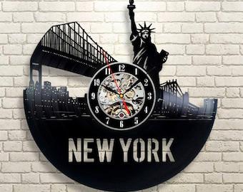 New York City Wall Clock Large Gift Idea For Him Modern Handmade Room Decor United States Travel LP Vinyl Record Art