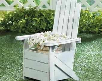 White Weathered Adirondack Chair Planter