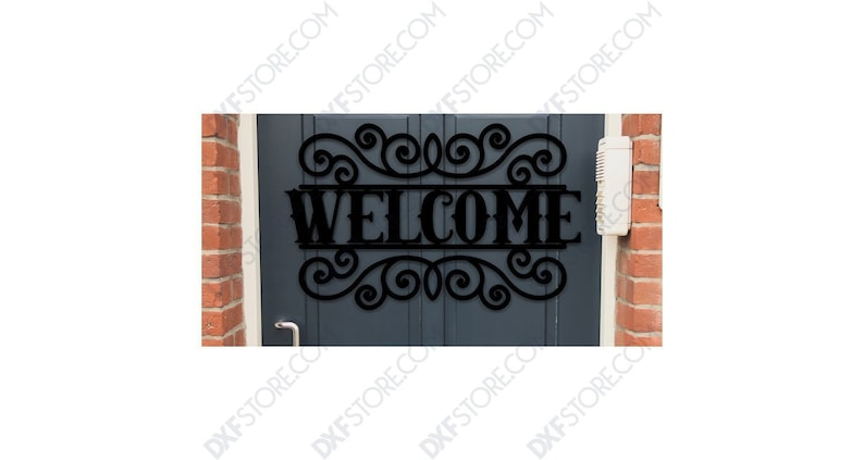 Welcome Sign Outdoor Decorative Insert Free DXF File - DXF File Cut-Ready  for CNC Laser & plasma -Dxf Digital Download