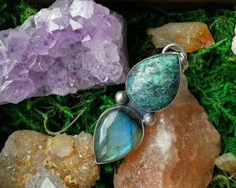 Statement Smooth Chrysocolla 925 Pendant Handmade Sterling Silver 925 Unique Modern