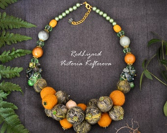 Felt Necklace with Natural Stones