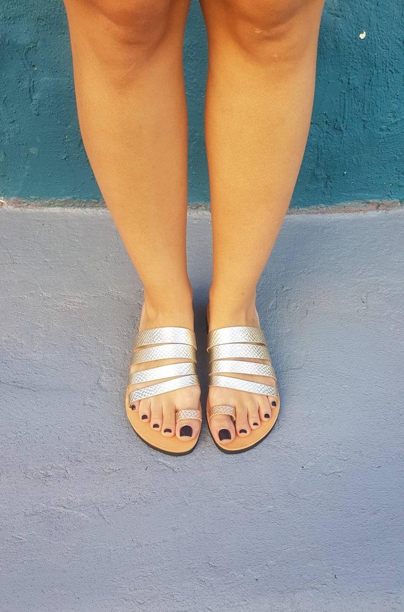 Greek Sandals Gift for her Ancient Greek sandals Slide sandals Genuine leather Women leather sandals Gold Sandals Handmade sandals