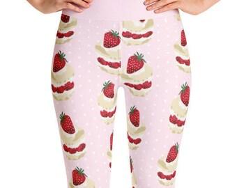Strawberry Shortcake Yoga Leggings - Pink - Food Fight Apparel
