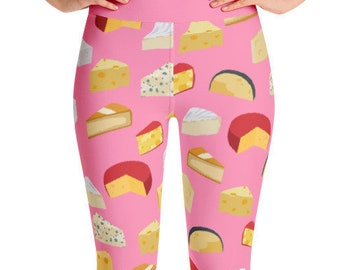 Cheese Yoga Leggings - Pink - Food Fight Apparel