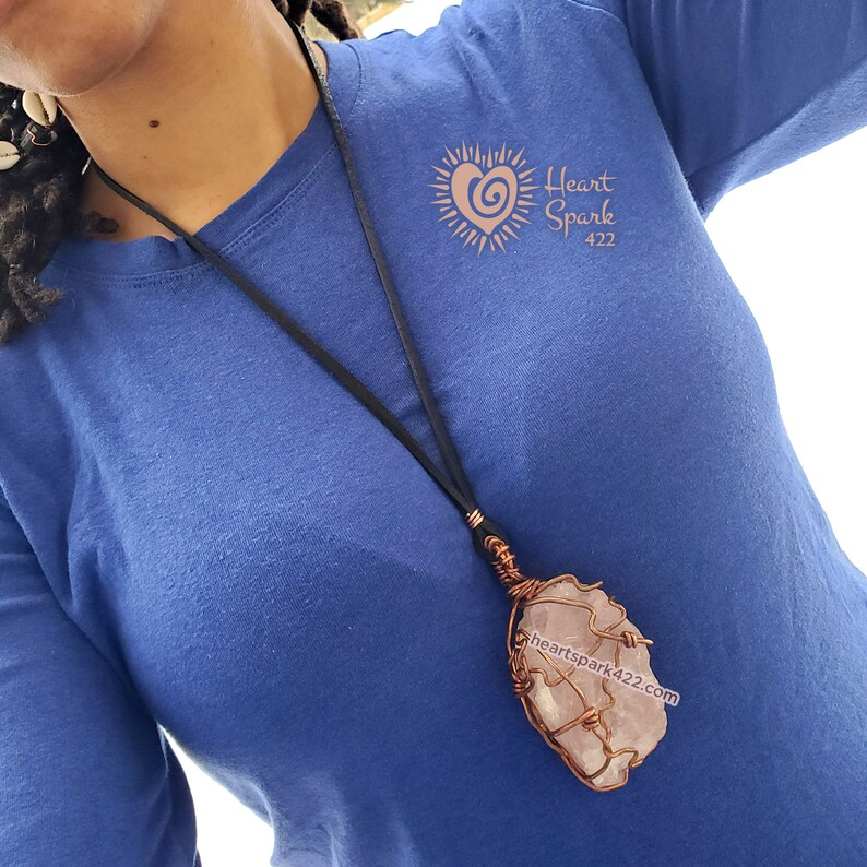 Chunky Raw Rose Quartz /& Copper Necklace with Leather cord Heart Spark 422