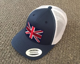 United Kingdom British Union Jack Flag Hat SnapBack American Trucker Mesh  Cap Hancrafted in the USA! Color  Navy White 195ee51a7a1e